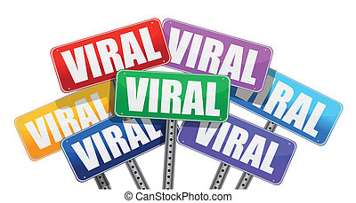 Viral marketing signs concept design on white background