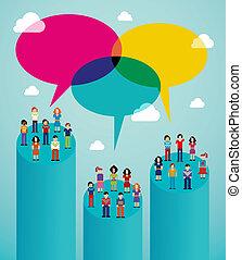 viral, nätverk, folk, kommunikation, global, social