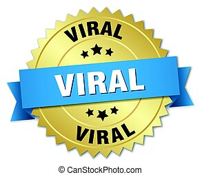 viral round isolated gold badge