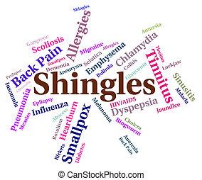 virale, parola, mezzi, malattia, herpes, afflizione
