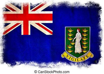 virgen, bandera, grunge, británico, islas