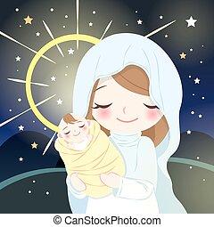 virgen maria, con, bebé jesús