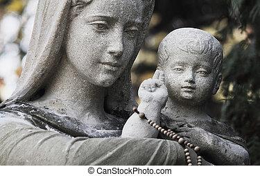 virgen maria, cristo, estatua, jesús