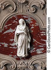 virgen maria, detalle, de, el, altar
