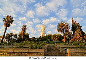 virgen maria, estatua, cerro, san, cristobal, santiago, chile