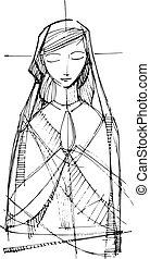 virgen maria, rezando, ilustración