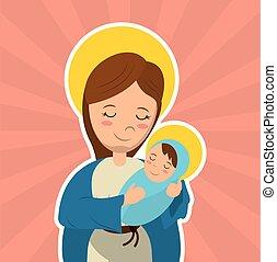 virgen maria, teniendo bebé, jesús, catolicismo, santo,...