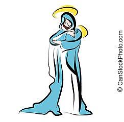 virgen maria, y, el, niño, jesus., navidad, illustration.