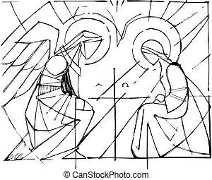 virgen maria, y, gabriel, arcángel, en, el, annunciation