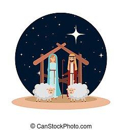virgen maria, y, santo, joseph, con, sheeps