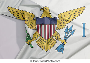 Virgin Islands fabric flag crepe and crease with white space, the coat of arms of the United States between the letters V and I.
