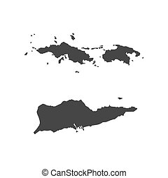 Virgin Islands of the United States map silhouette illustration on the white background. Vector illustration