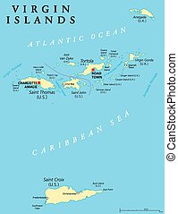 Virgin Islands Political Map. An island group between the Caribbean Sea and the Atlantic Ocean. British Virgin Islands and Virgin Islands of the United States. English labeling and scaling. Illustration.