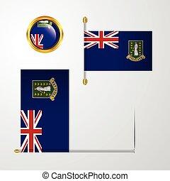 Virgin Islands UK waving Flag design with badge vector