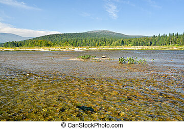 """The river in the national park in the Urals. """"Virgin Komi Forests"""" World Natural Heritage by UNESCO."""