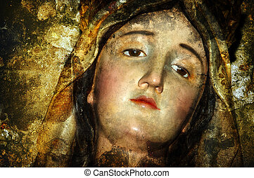figure of virgin mary on vintage background