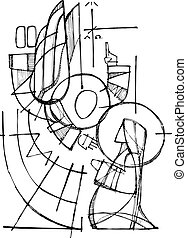 Hand drawn vector ink illustration or drawing of Virgin Mary and Gabriel Angel in Annunciation scene
