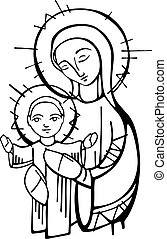 Hand drawn vector ink illustration or drawing of Virgin Mary and baby Jesus Christ