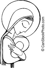 Hand drawn vector illustration or drawing of Virgin Mary and Baby Jesus