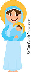 Virgin Mary and jesus cartoon isolated over white background. vector