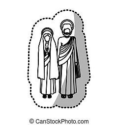 Virgin mary and joseph icon vector illustration graphic...