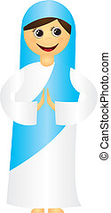 Virgin Mary cartoon isolated over white background. vector