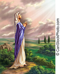 Virgin Mary praying in a beautiful country landscape....