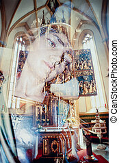 Virgin Mary ghostly image reflection in church