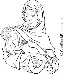 Virgin Mary hold baby Jesus - Madonna and baby Jesus. Sketch...