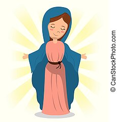 virgin mary holiness divine image vector illustration