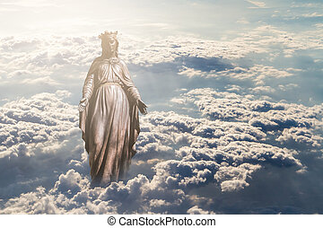 Virgin Mary in Clouds - Bronze sculpture of Holy Virgin Mary...