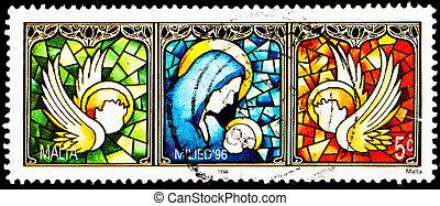 Virgin Mary Jesus Stained Glass Malta - MALTA - CIRCA 1996:...