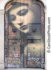 Virgin Mary painted on a door, Milan