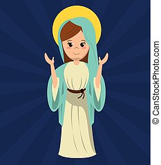 virgin mary pray statue image vector illustration