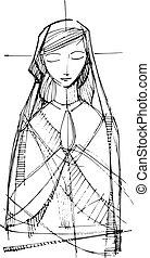 Virgin Mary praying illustration - Hand drawn vector...