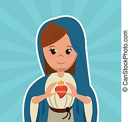 virgin mary sacred heart christian catholic symbol image...