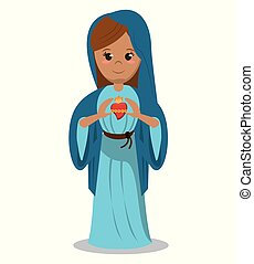 virgin mary sacred heart devotional image vector...