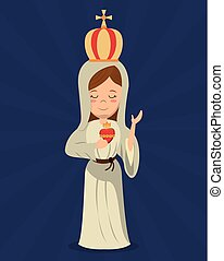 virgin mary sacred immaculate heart religion vector...