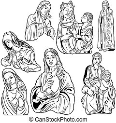 Virgin Mary Set - Black and White Outlined Illustrations, Vector