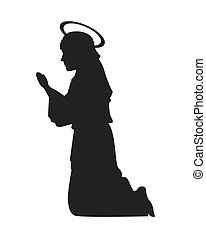 virgin mary silhouette icon