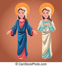 virgin mary spiritual catholic image vector illustration eps...