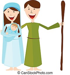 Virgin Mary, St. Joseph and baby Jesus isolated. vector