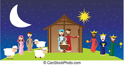Virgin Mary, St. Joseph and Jesus with magi and pastors over landscape. vector