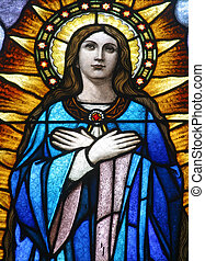 Virgin Mary, Stained glass