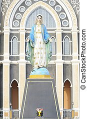 Virgin Mary Statue in Roman Catholic Church, Thailand.