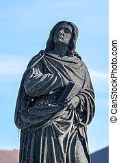 Virgin Mary statue on Charles Bridge in Prague