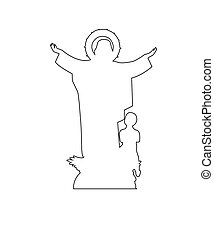 Virgin Mary Statue Path on the white background
