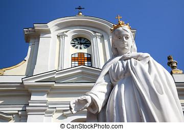 Virgin Mary white statue