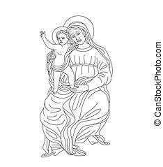 Virgin Mary with Little Jesus, art vector design