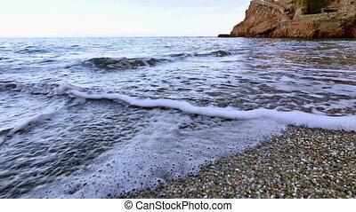 Virgin Mediterranean Beach Steady Cam Shot Flying Over -...
